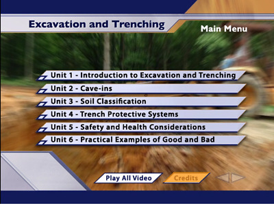 Excavation & Trenching Safety Training Interactive DVD