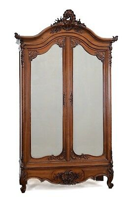 Extra Large Antique French Walnut Louis XV Armoire Wardrobe Cabinet