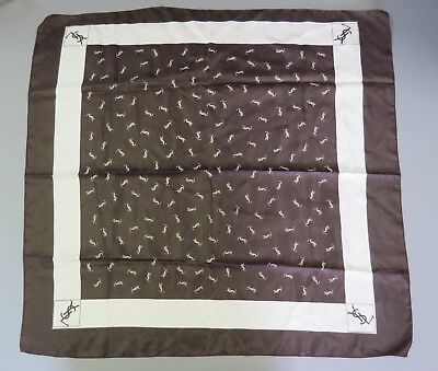 adaf261ef4 YSL Yves Saint Laurent Brown   White 100% Silk Scarf Signature 28