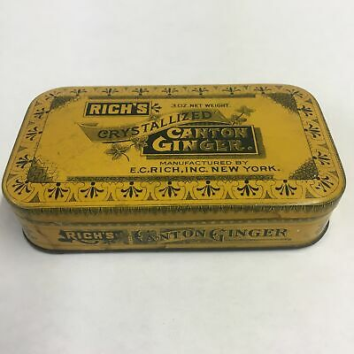 Old Rich's Crystalized CANTON GINGER Tin, New York