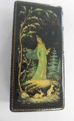"""RUSSIAN BLACK LACQUER BOX Lot 10 of 18 Tree & Rabbits SNOWMAIDEN 6 1/4"""" Long"""