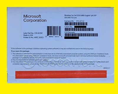 Microsoft Windows Server Standard 2016 2CPU - 16 core-2VM BRAND New!