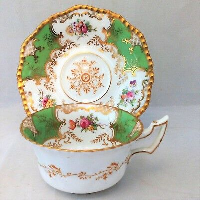 Antique Edwardian Coalport Porcelain Cup and Saucer Apple Green Batwing Pattern