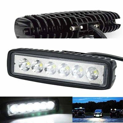 18W 800LM Bright Work Light Bar 6LED Spot Driving Fog Lamp Offroad Car Truck 4WD