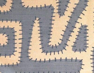 BENNISON FABRICS Great Cactus Blue on Oyster Linen Cotton Remnant New