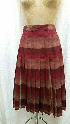 Vintage Dark Red Tan Brown Reversible Pleated Wool Skirt by Pendleton Size 12