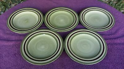 """Laurie Gates CAMBRIA Green Brown Rings Luncheon Salad Plates 9 5/8"""" Set of 5"""
