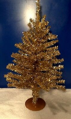 "17"" Gold Tinsel Tree Christmas Holiday Tree Table-Top XMASS Decor Golden"