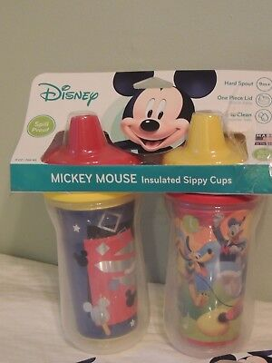 2 MICKEY MOUSE Sippy Cups+ 2 Spoons SPILLPROOF Baby Toddler Disney