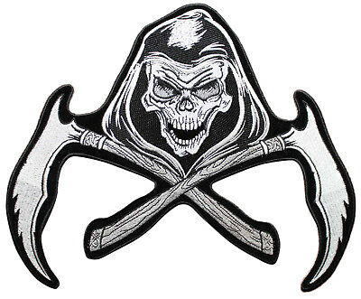 11 INCH GRIM Reaper Skull Scythe Embroidered Iron On Back Patch - Sickle W03