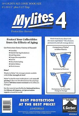 50 Mylites4 GOLD SIZE 4 mil Archival Mylar Comic Bags Sleeves E. Gerber 800M4
