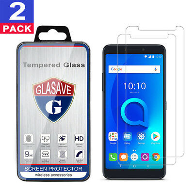 (2 Pack) GLASAVE Alcatel 3V 5099 Tempered Glass Screen Protector Clear Film
