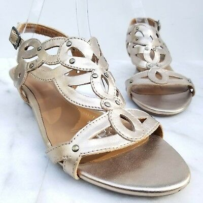 d0949bfbb90 Clarks Women s Playful Tunes Wedge Sandal 8.5 M Gold Leather Studded  Slingback