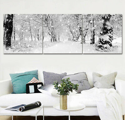 "16x16"" Winter Snow View Old Trees 3Parts Home Wall Decor Art Printed Paintings"