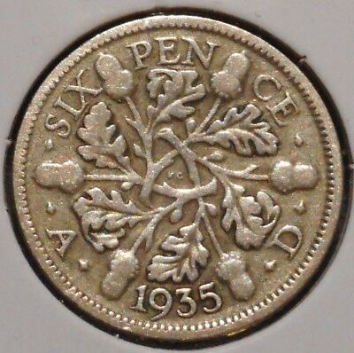 British Silver Sixpence - 1935 - King George V - $1 Unlimited Shipping