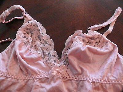 VINTAGE CAMISOLE  by Maidenform Rose Pink Nylon w Lace Trim Size 36