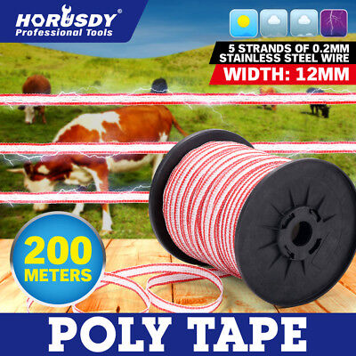 200M Roll Electric Fence Wire Poly Tape Temporary Stainless Steel Fencing Kit