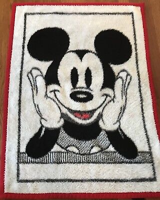 Vintage Mickey Mouse Throw Baby Blanket 1984 Velour Disney Red White Black