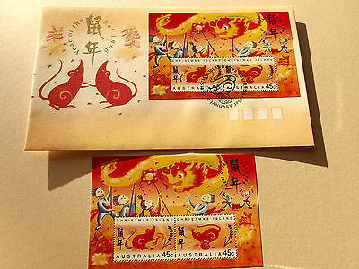 1996 Christmas Island - Year of The Rat mini sheet  MNH + FDC