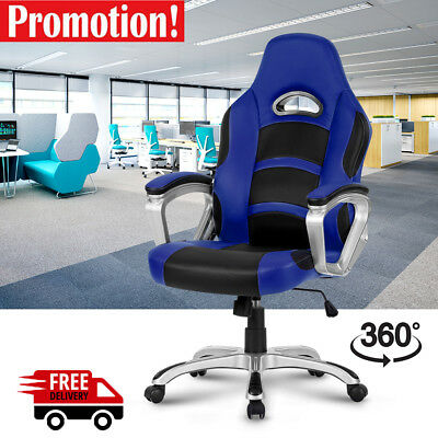 Executive Office Chair Seat High-Back Leather Racing Gaming Computer Work 360°