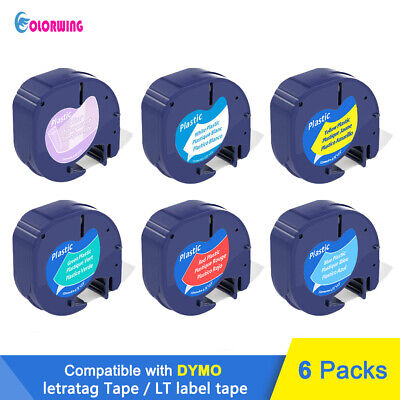6 PK 91331 16952 Compatible DYMO label maker Label Tape LT LetraTag 12mm x4m 1/2