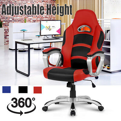 Executive Office Chair Seat Desk Leather Racing Gaming Computer Home Ergonomic