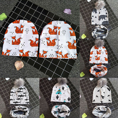 Collar Cap Animal Print Neck Cover Baby Hat Cotton Scarf Warm Beanies Scarf