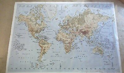 Ikea Premiar World Map Atlas Large Framed Picture On Canvas 78 X 55