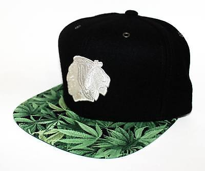PICK1- Chicago Blackhawks Weed Mitchell & Ness STRAP SnapBack Black Wool Melton