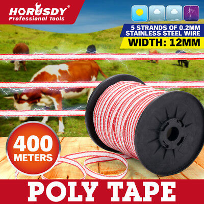 400M Roll Poly Tape Electric Fence Temporary Fencing Kit Stainless Steel Wire