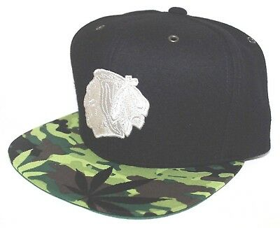 Chicago Blackhawks Camo Weed Mitchell & Ness STRAP SnapBack Black Wool Melton