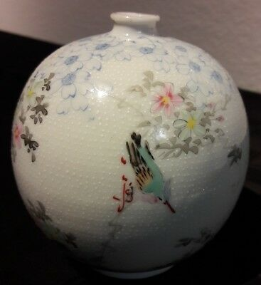 Asian Round Vase Vintage Hand Painted Birds Flowers Polka Dots White Blue Pink