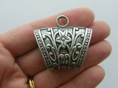 12 Bail Beads Antique Silver Tone 3D Detail Spacer Beads SC3011