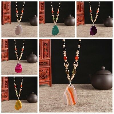 Agate Necklace Pendant FashionDecoration Female Natural Chalcedony Sweater Chain