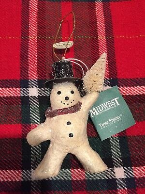 TEENA FLANNER Snowman Ornament Christmas Glitter Retired 2004 Holiday Decor NWT
