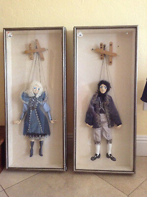 antique FRENCH MARIONETTES  PUPPETS HAND MADE framed glass shadow boxes
