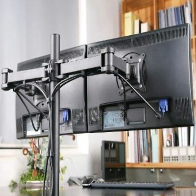 Dual Led Monitor Stand 2 Arm Holds Two Lcd Screen Tv Desk Mount Bracket Flat 27