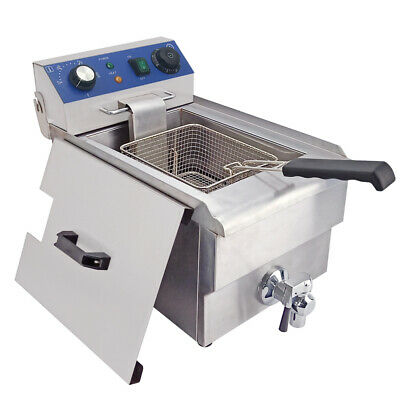 10L 3000W Electric Deep Fryer Fat Fry Chip Commercial Countertop Stainless Steel