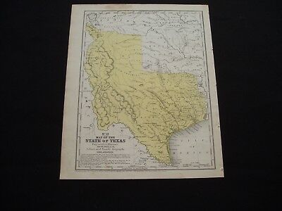 1846 Mitchell Antique Map State of Texas Very Rare 100% Genuine