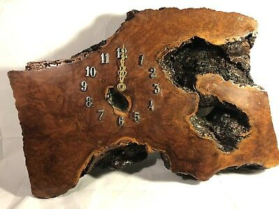 Wood Wall Clock Burl Art Handmade Hanging Rustic Live Edge Slab REALLY NICE GIFT