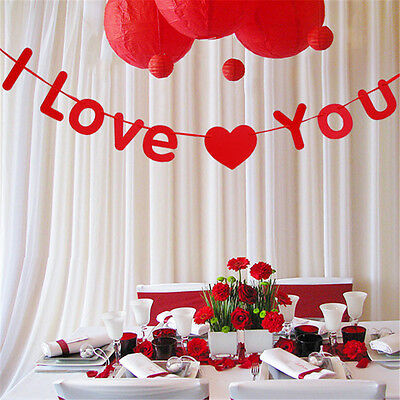 Top Quality Paperboard I Love You Bunting Banner Hanging Decor Wedding Garland