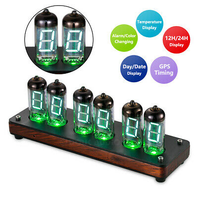 Retro IV-11/ИВ-11 Valve VFD Nixie Tube Clock Wooden Alarm Desk Clock + IR Remote