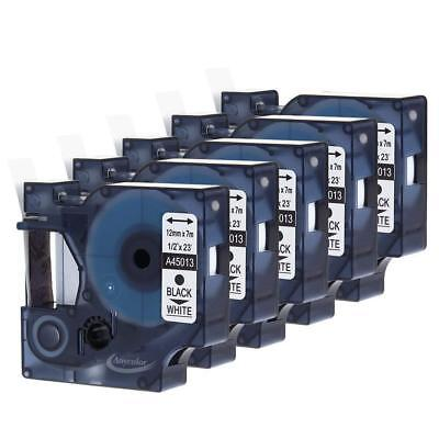 5PK 45013 Label Tape compatible DYMO D1 label manager Black on White 12mm*7m