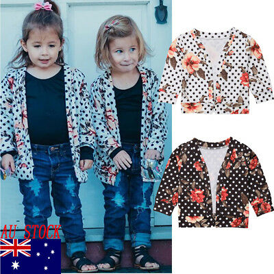 AU Winter Warm Cardigan Coat Baby Girls Kids Cute Floral Jacket Clothes Outwear