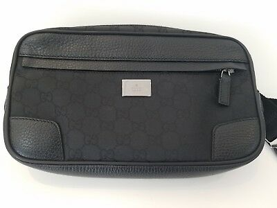 449196a2aba Authentic GUCCI GG Pattern Bum Bag Waist Pouch Black Nylon Leather Italy  336672