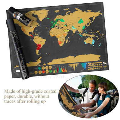 Map 2018 Decor Wall Log Poster Scratch Journal Deluxe Travel Off World Edition
