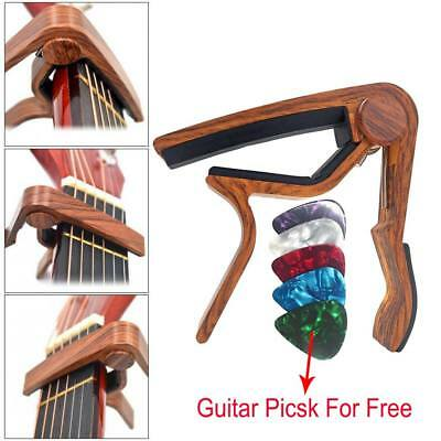 Guitar Capo Clamp Acoustic Electric Classical Wooden Capo w/ Free Guitar Picks