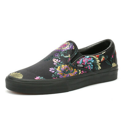 64b91e6826 Vans Classic Slip on Festival Satin Womens Black Trainers Casual Skate Shoes