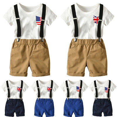 Toddler Baby Boys Tops T-Shirt+Braces Pants Gentleman Outfits Clothes Suits UK