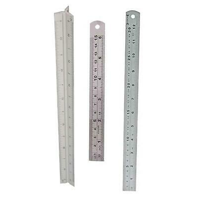 """6"""", 12"""" & SCALE RULER SET -SMALL+LARGE- Measure Rule Metal Stainless Steel"""